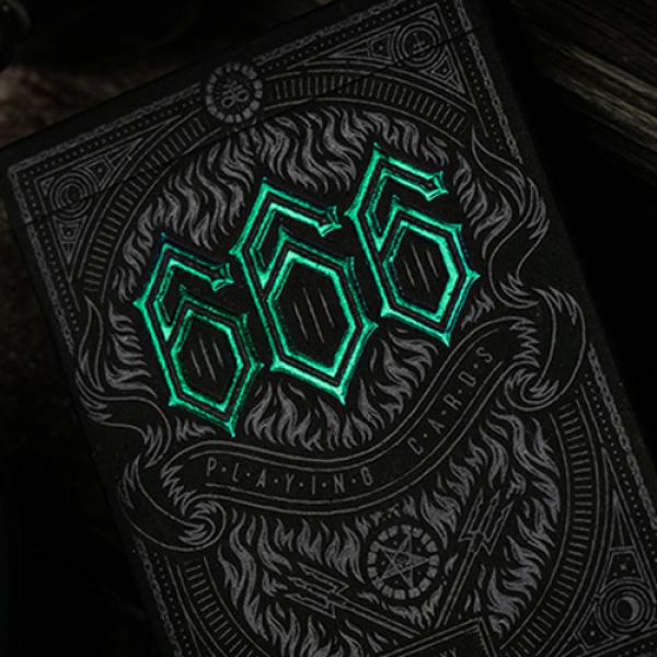 666 Green Playing Cards by Riffle Shuffle
